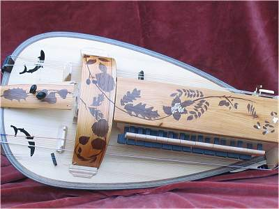 Inlay detail of custom Hurdy Gurdy by Chris Allen and Sabina Kormylo