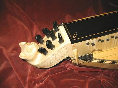Head and Capo of custom Hurdy Gurdy by Chris Allen and Sabina Kormylo