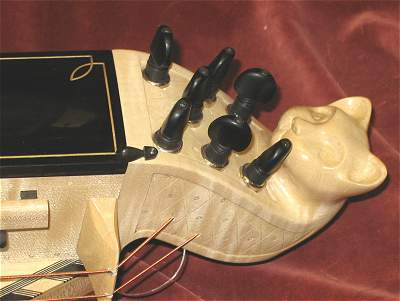 Head detail of custom Hurdy Gurdy by Chris Allen and Sabina Kormylo