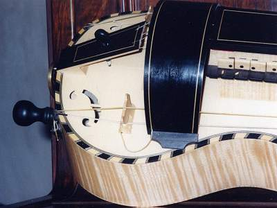 Tailend detail of Colson a Mirecourt Hurdy-Gurdy by Chris Allen and Sabina Kormylo