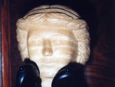 Head detail of Hurdy-Gurdy after Colson a Mirecourt undecorated by Chris Allen and Sabina Kormylo