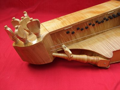 Peghead detail of Henry 3 Hurdy Gurdy by Chris Allen and Sabina Kormylo