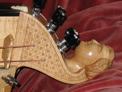 Peghead detail of Nigout Hurdy Gurdy by Chris Allen and Sabina Kormylo