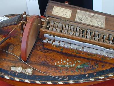 Keybox detail of original 1892 Nigout Hurdy Gurdy from Chris Allen and Sabina Kormylo collection