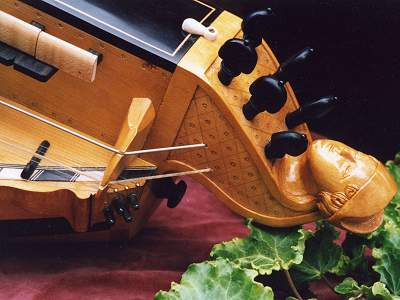 Head detail in Decante style of Pimpard Hurdy Gurdy by Chris Allen and Sabina Kormylo