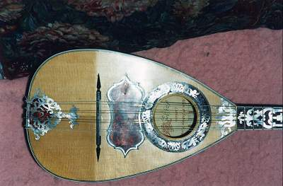 Front detail of Vinaccia Mandolin by Chris Allen and Sabina Kormylo