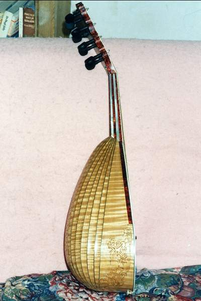 Side view of Vinaccia Mandolin by Chris Allen and Sabina Kormylo